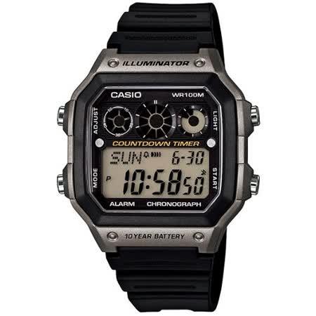 CASIO 雷神戰士個性運動電子錶(黑x銀灰)AE-1300WH-8A