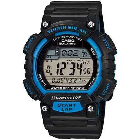CASIO 魅力運動風太陽能電子錶(黑x藍)STL-S100H-2A
