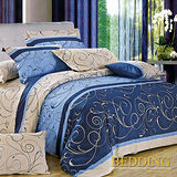 【BEDDING】藍調 100%精梳棉雙人涼被床包組