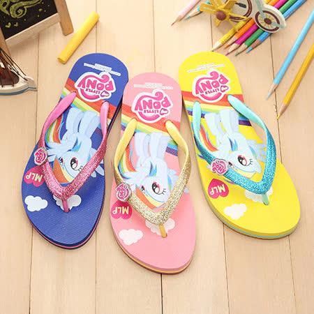 【童鞋城堡】Pony彩虹小馬銀蔥人字夾腳拖鞋MP0108