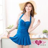 【天使霓裳】戀夏假期泳衣 一件式連身款(藍)