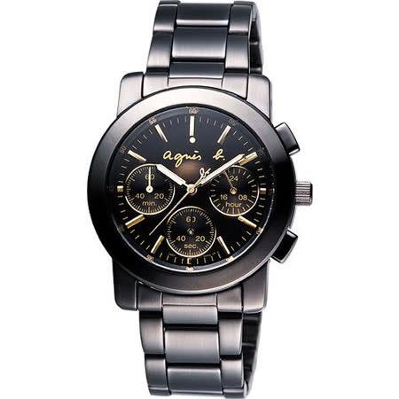 agnès b.魔幻酷勁三眼計時腕錶-黑/金 BWY063P