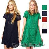 【C.R.】新款春裝短袖蕾絲連衣裙(5色)