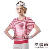 【麥雪爾】經典水鑽細條紋寬版針織上衣(二色)