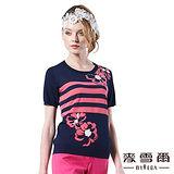 【麥雪爾】高貴典雅氣質水鑽花朵針織上衣(二色)