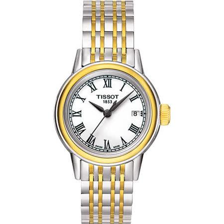 TISSOT T-Classic Carson 秀麗典雅時尚腕錶(白x雙色/29mm) T0852102201300