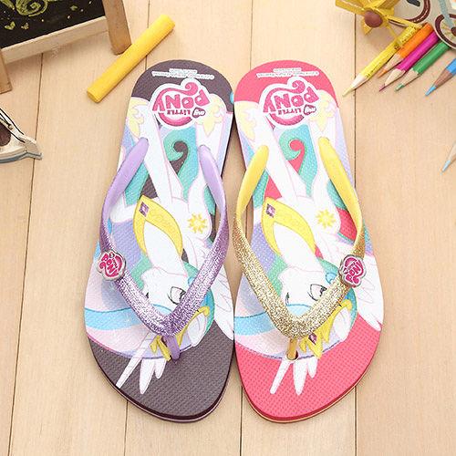 【童鞋城堡】Pony彩虹小馬銀蔥人字夾腳拖鞋MP0112
