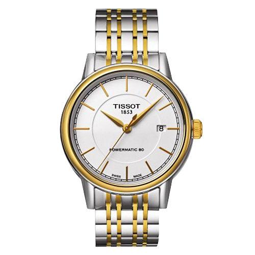 TISSOT Carson Powermatic 80 寧靜時光機械腕錶^(銀x雙色39m