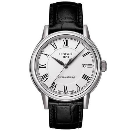 TISSOT Carson Powermatic 80 優雅紳士機械腕錶(銀/39mm) T0854071601300