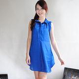 【H&M】歐美風襯衫式無袖絲綢長版連身裙(藍)