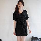 【H&M】高貴名媛玫瑰刺繡寬袖雙層洋裝(黑)
