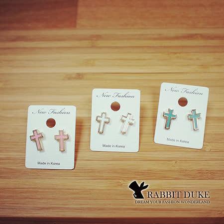 【Rabbit Duke】經典歐美風格 個性糖果色彩金屬邊十字架耳環