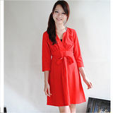 【H&M】美麗亮眼V領皺摺綁帶素雅洋裝(紅)