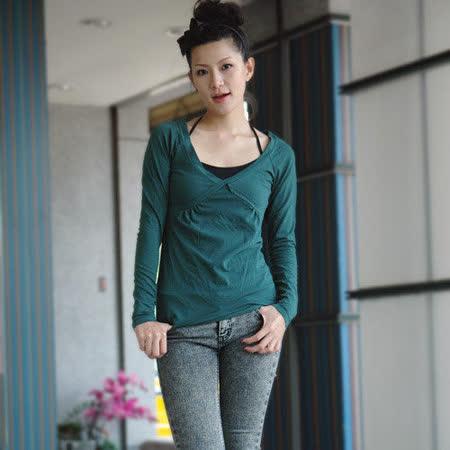 【ZARA】春秋季節性感交叉V領棉質上衣(綠)