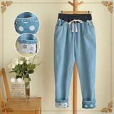 【韓系女衫 中大尺碼】復古童趣花樣鬆緊寬鬆哈倫牛仔褲