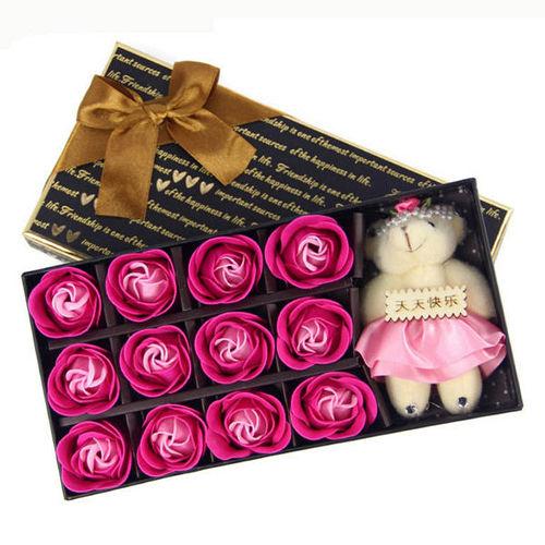 ~PS Mall~母親節 12朵玫瑰加熊 香皂玫瑰花 ^(J2274^)