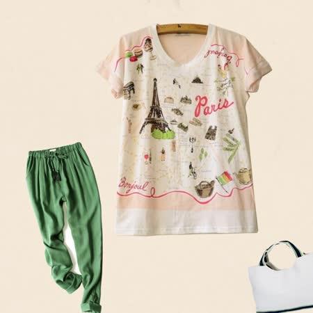 【Maya Collection森林系】巴黎悠閒風情亮麗短袖T恤