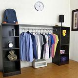 (單吊衣桿+八大格)-吊衣櫃/吊衣櫥-深胡桃木色40Dx200Wx121H/公分