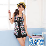 【SUMMERLOVE 夏之戀】復古花卉長版三件泳衣S14719