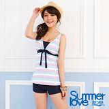 【SUMMERLOVE 夏之戀】沁藍海洋風長版三件式泳衣S14715