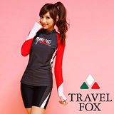 【TRAVELFOX 旅狐】運動風長版二件式泳衣C14709