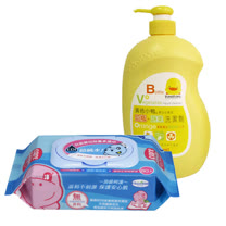 貝恩 天然EDI超純水柔濕巾(80抽1箱)+黃色小鴨 奶瓶蔬果洗潔劑罐裝1000ML