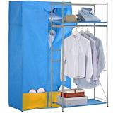【海克力士】多功能二層防塵衣櫥架(附置物袋)-微風藍