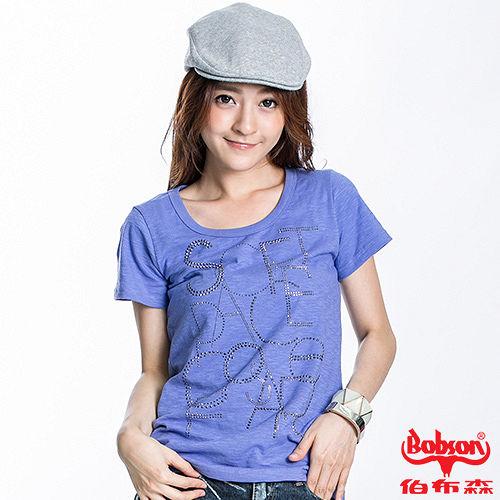 BOBSON 女款鋁片印圖短袖上衣^(藍紫21085~62^)
