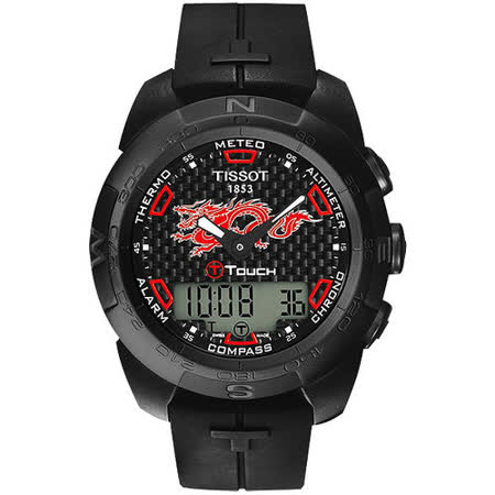TISSOT T-touch 飛龍在天鈦合金腕錶(IP黑/43mm) T0134204720101