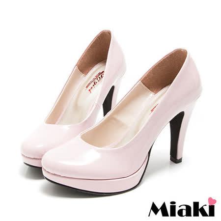 (現貨+預購)【Miaki】 MIT 都會奢華皮質細跟包鞋高跟鞋 (粉色)