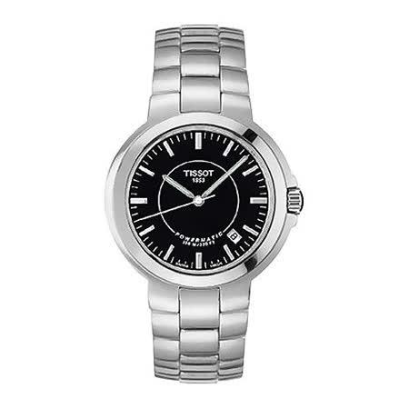 TISSOT 簡約風雅鏤空機械錶(黑x鋼帶/36mm) T31148951