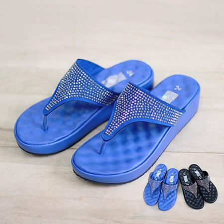 【Pretty】鑽面夾腳彈性墊楔型拖鞋-藍色