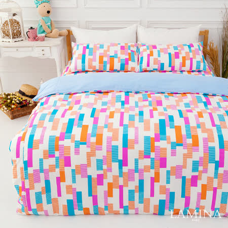 LAMINA  楓葉方格-藍  雙人加大三件式純棉床包組