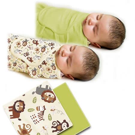 美國 Summer Infant SwaddleMe 可調式懶人包巾兩入組【純棉薄款 - 叢林動物】, 小號