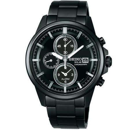 SEIKO SPIRIT 太陽能 三眼鬧鈴計時腕錶(IP黑/40mm ) V172-0AA0K
