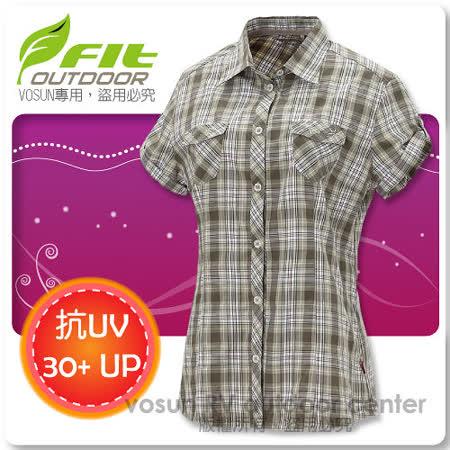 【維特 FIT】女新款 格紋吸排抗UV短袖襯衫_ FS2203 灰卡其