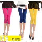 【韓系女衫 中大尺碼】 夏季 冰絲綿 超彈性 中大碼 七分內搭褲 -黃色