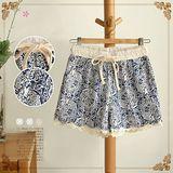 【Maya Collection森林系】復古青花瓷圖案拼接蕾絲休閒短褲