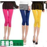 【韓系女衫 中大尺碼】 夏季 冰絲綿 超彈性 中大碼 七分內搭褲 -墨綠色