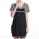 【ohoh-mini孕婦裝】陽光女孩條紋圓領短版孕婦洋裝