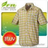 【維特 FIT】男新款 格紋吸排抗UV短袖襯衫_ FS1201 薑黃色