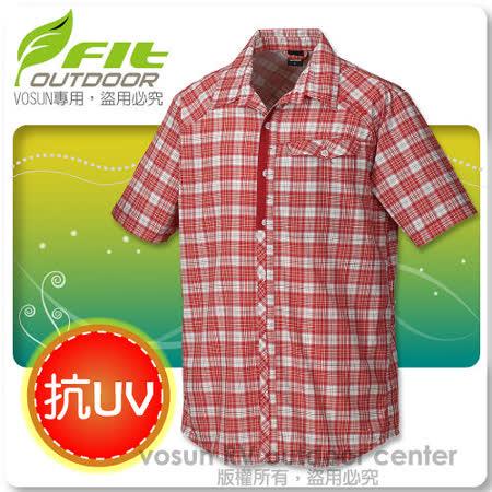 【維特 FIT】男新款 格紋吸排抗UV短袖襯衫_ FS1201 魅力紅