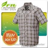 【維特 FIT】男新款 格紋吸排抗UV短袖襯衫_ FS1202 灰卡其