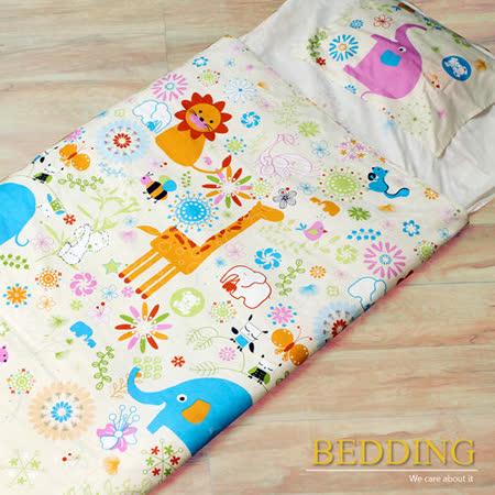 【BEDDING】頑皮世界 100%精梳棉舖棉冬夏兩用兒童睡袋