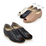 【韓國T2R】韓國人氣真皮魚口綁帶增高鞋 黑 ↑6cm 5500-0584(原裝進口)