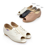 【韓國T2R】韓國人氣真皮魚口綁帶增高鞋 米白 ↑6cm 5500-0585(原裝進口)