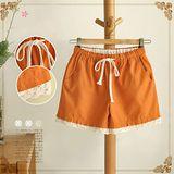 【MIDORI╭。綠】糖果色消暑棉麻短褲(FD00082)