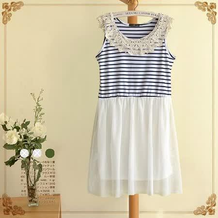 【MIDORI╭。綠】純棉條紋拼接紡紗背心裙(FD00083)