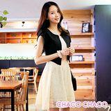 預購【CHACO韓國】典雅外套併接勾花連身裙短袖洋裝CLEB-O-9(杏白色M/L)