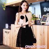 預購【CHACO韓國】典雅外套併接勾花連身裙短袖洋裝CLEB-O-9(黑色M/L)